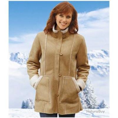manteau femme beige su dine doubl sherpa atlas for. Black Bedroom Furniture Sets. Home Design Ideas