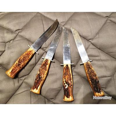4 couteaux de cuisine manches imitation bois de cerf