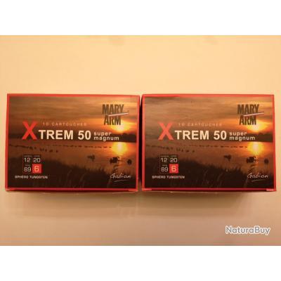 2 boîtes de 10 cartouches Mary XTREM 50  cal 12/89 N°6 SUPER PRIX !!!