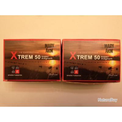 2 boîtes de 10 cartouches Mary XTREM 50  cal 12/89 N°4 SUPER PRIX !!!