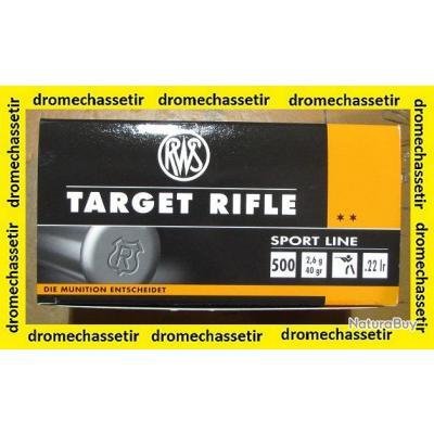 Lot de 500 cartouches RWS Target Rifle 22LR, 40 grains