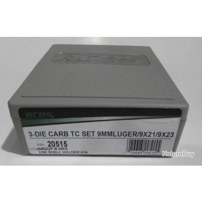 Jeux d'outils RCBS carbure pour le rechargement en calibre 9x19Luger, 9x21 et 9x23