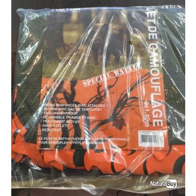 Filet de camouflage Fuzyon orange/kaki avec sac de transport en 3.00x1.40m