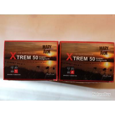 2 boîtes de 10 cartouches Mary XTREM 50  cal 12/89 N°1 et N°4 SUPER PRIX !!!