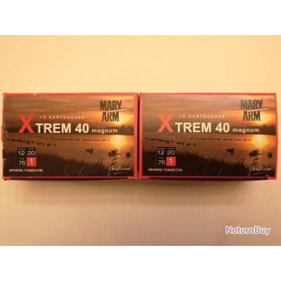 2 boîtes de 10 cartouches Mary XTREM 40  cal 12/76 N°1 SUPER PRIX !!!