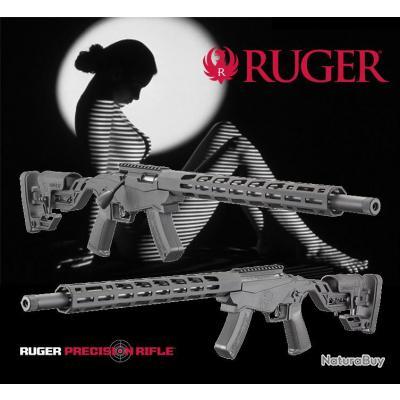"""RUGER PRECISION TM RIMFIRE """"PROMO BLACK DAY$"""" Crosse Pliée et Réglable Calibre 22LR"""