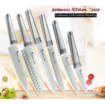 Ensemble 6 Couteaux De Cuisine Tout Inox