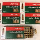 1 LOT E 6 BOITES DE 50 CARTOUCHES 357 SIG SELLIER 1 BELLOT FMJ 9,0g 140 grs