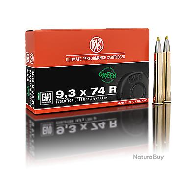 Lot de 2 Boites de Munitions de grande chasse RWS en calibre : 9.3x74R EVO GREEN