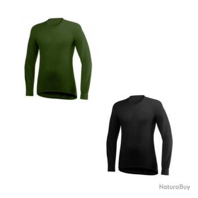 T shirt manche longue Col rond 200 gr t Woolpower Ulfrotté merinos Noir