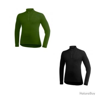 T shirt manche longue ullfrotté 200 gr woolpower col cheminé merinos Noir