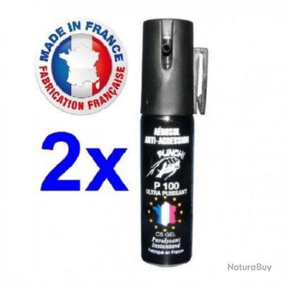 Pack 2 bombe lacrymogene Gaz Gel 25 ml promotion