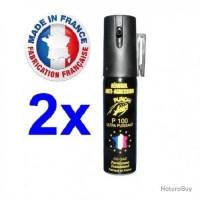 Pack 2 bombe lacrymogene Gaz CS 25 ml promotion