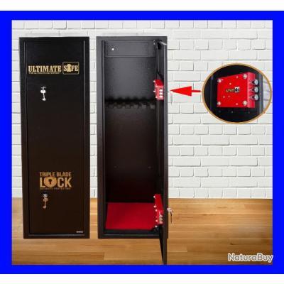 Coffre-fort Ultimate Safe® armoire à fusils 6 armes avec casier à munitions // chasse tir défense