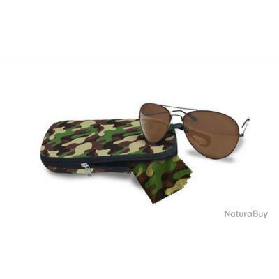 4861b6961aa016 Battlefield V   Lunettes type « Aviators » avec un étui et un chiffon  camouflage