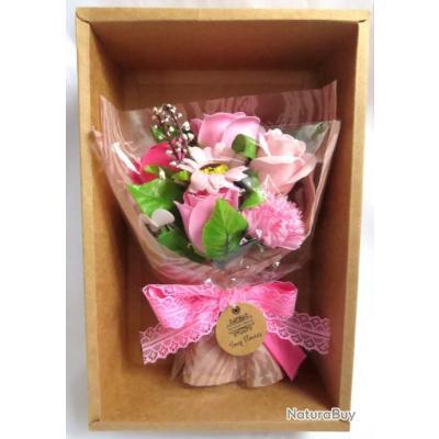 Bouquet De Fleurs De Savon Main Et Boite Rose Objets Divers