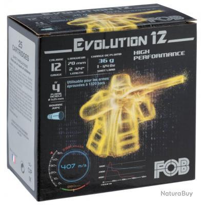 FOB PASSION Nickel 36. Cal.12 70. culot de 16. 36 gr. Cartouches Fob Evolution 12 Cal. 12 70
