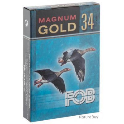 """""""( FOB GOLD Magnum Cal. 20-76, culot de 16, 34 gr, N°2 doré)Cartouches Fob Gold 34 Magnum - Cal. 20-"""