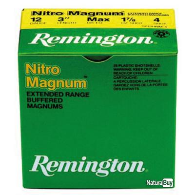 """( Remington NITRO  cal 12-76, culot de 20, 53 gr, N°2)Cartouches Remington Nitro Magnum longue dist"