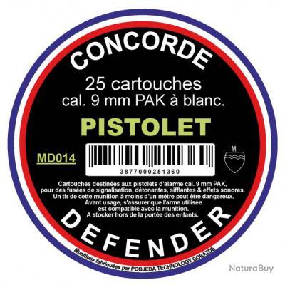 ( Munitions 9 mm PAK à blanc)Boîte de 25 cartouches cal. 9 mm PAK à blanc