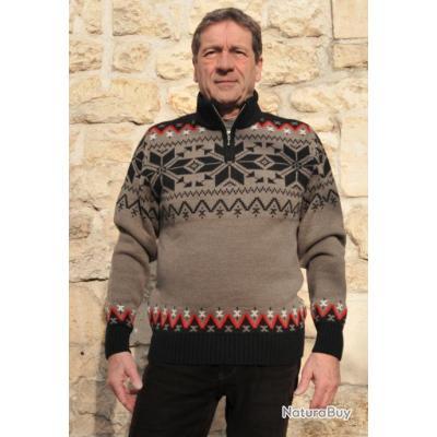 Pull laine jacquard nordique Homme Beige