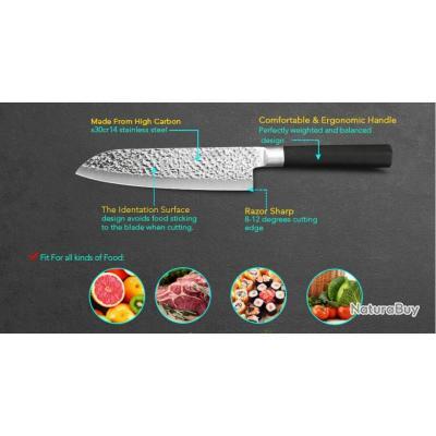 couteaux cuisine X1 178mm lame / dureté 59HRC