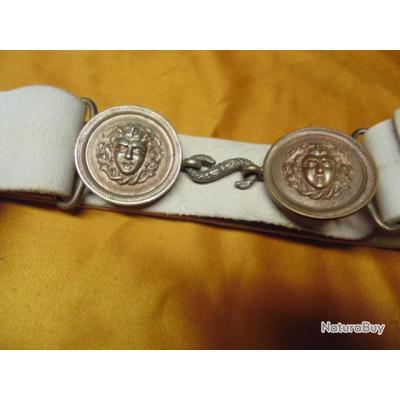 ceinturon méduse cuir buffle second empire  III ° rep  infanterie garde Nle gendarmerie