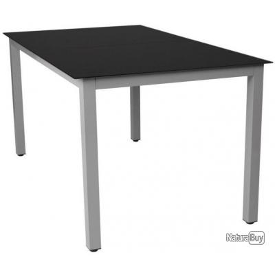 Table de jardin aluminium gris et verre 147 cm mobilier de jardin ...