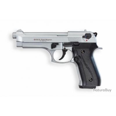 PROMO!! Pistolet à Blanc de défense EKOL FIRAT MAGNUM Metal Satiné 9mm 16 coups + Malette + Balles