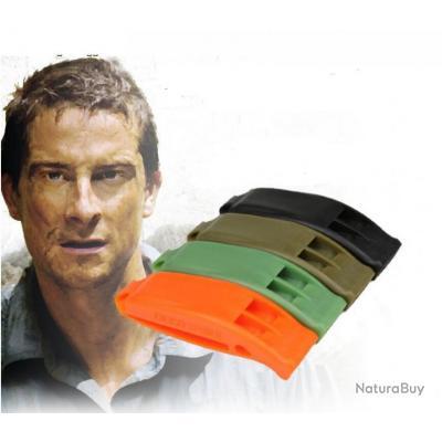 Sifflet de survie orange/noir/vert/marron spécial EDC