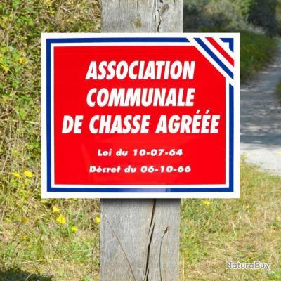 """Lot de 10 panneaux """"ASSOCIATION COMMUNALE DE CHASSE AGREEE"""" en Polypropylène 0.8 mm 30 x 25 cm"""