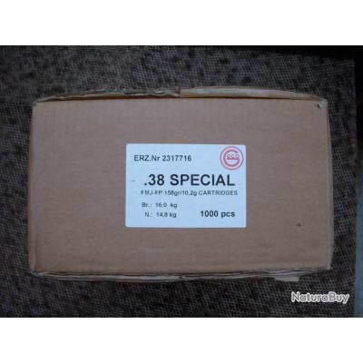 carton de 1000 cartouches GECO de calibre 38 SPECIAL à balle FMJ de 158 grains