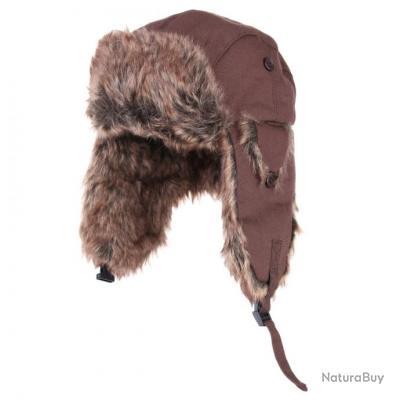 Bonnet - chapka , en toile et fourrure -  couleur brun - taille L = 58/59 - 214170 - fin de série