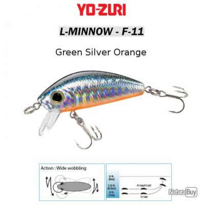L-MINNOW F-11 YO-ZURI 44 mm / 5 g Green Silver Orange