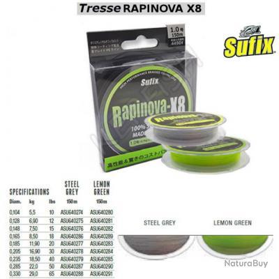 TRESSE RAPINOVA X8 SUFIX 0.148 mm Lemon Green