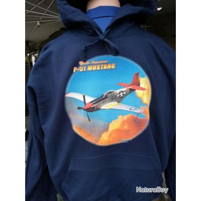 Sweat shirt à capuche bleu marine P-51 Mustang