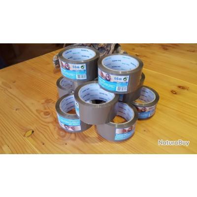 Lot de 10 rouleaux adhésifs marron 50mm x 66m  D