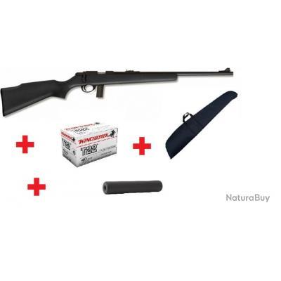 SOLDES! Carabine 22LR Armscor M1400TM Noir + 50 balles Winchester + Silencieux SAPL Still 2 + Housse