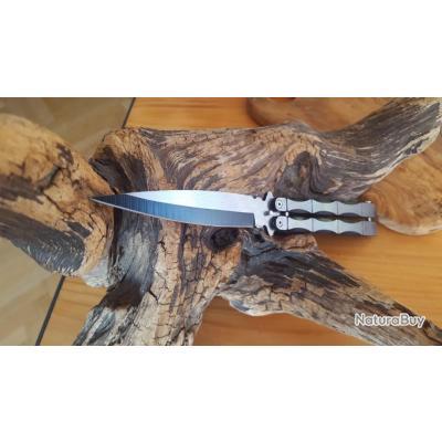 GRAND couteau papillon 24,5 MANCHE ET LAME ACIER CP5