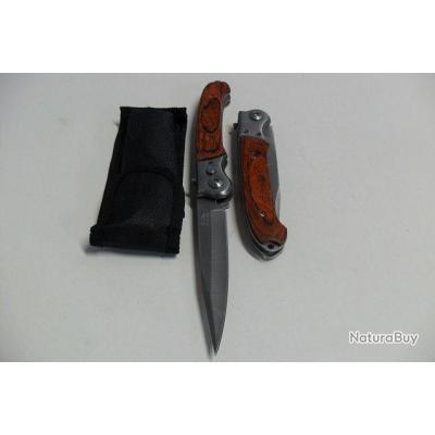 Couteau Automatique Lame Acier Fine 10 Cm Manche BOIS 12,5 Cm Chasse Pêche A9 2