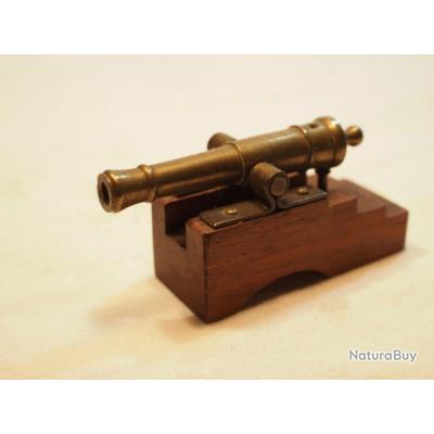 """Maquette ancienne d'artillerie de marine canon bronze XIX Tube en bronze avec """"lumière"""" Affût bois"""