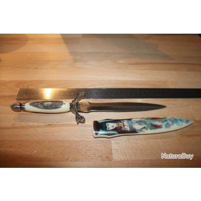 collectionneur couteau  dague avec femme sur étui et visage sur crosse imitation ivoire