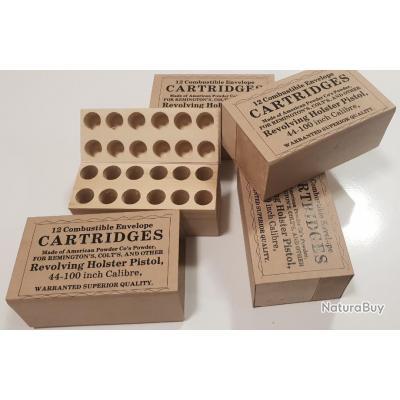 1 Boite bois de 12 Cartouches Papier Combustible Cal .44 Révolver prix promotionnel très bas