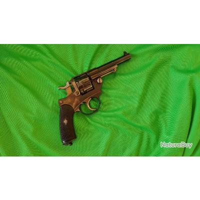 Superbe revolver 1874 civil G. Peyron, beau bronzage, bon canon, belle mécanique, apte au tir.