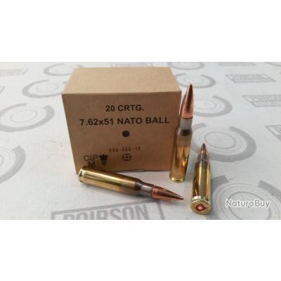20 cartouches GGG calibre 308 Win (7.62x51) 147 grains FMJ