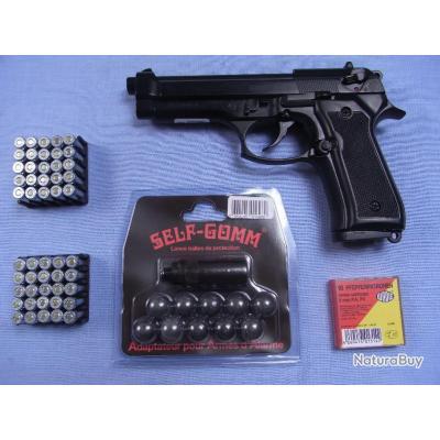 Pack de défense Beretta 92. 9 mm à blanc, gaz lacrymogène et balle de caoutchouc