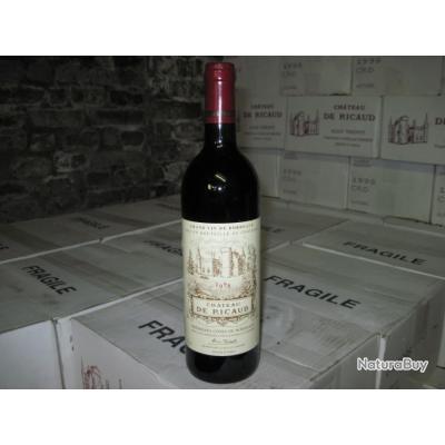 CARTON de 6 bouteilles de vin Bordeaux chateau de RICAUD 1998