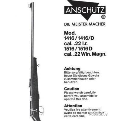 Notice d'utilisation et d'entretien carabines Anschütz 1416 et 1516