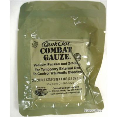 Quikclot combat gauze (vacuum packed).