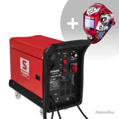 Set d'équipement de soudage Poste combiné - 195A - 230V - chariot + Masque de soudure - Pokerface -